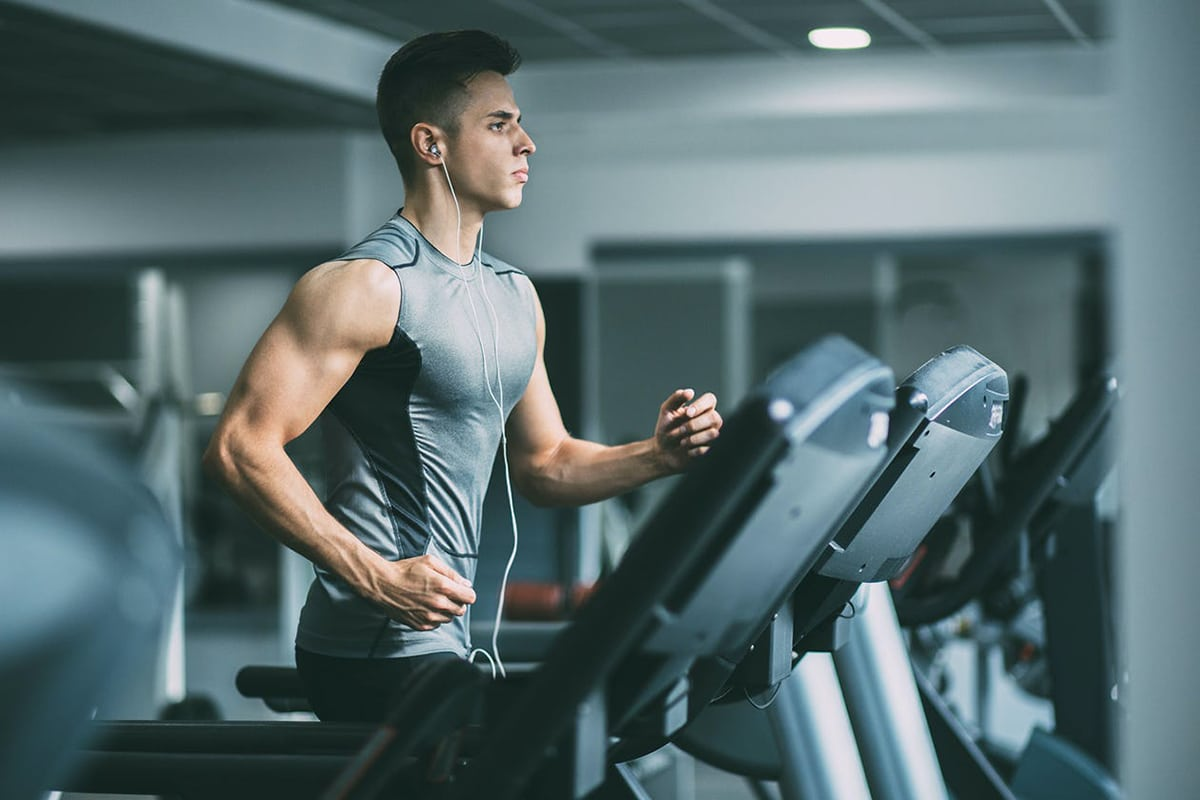 man doing cardio training on Treadmill