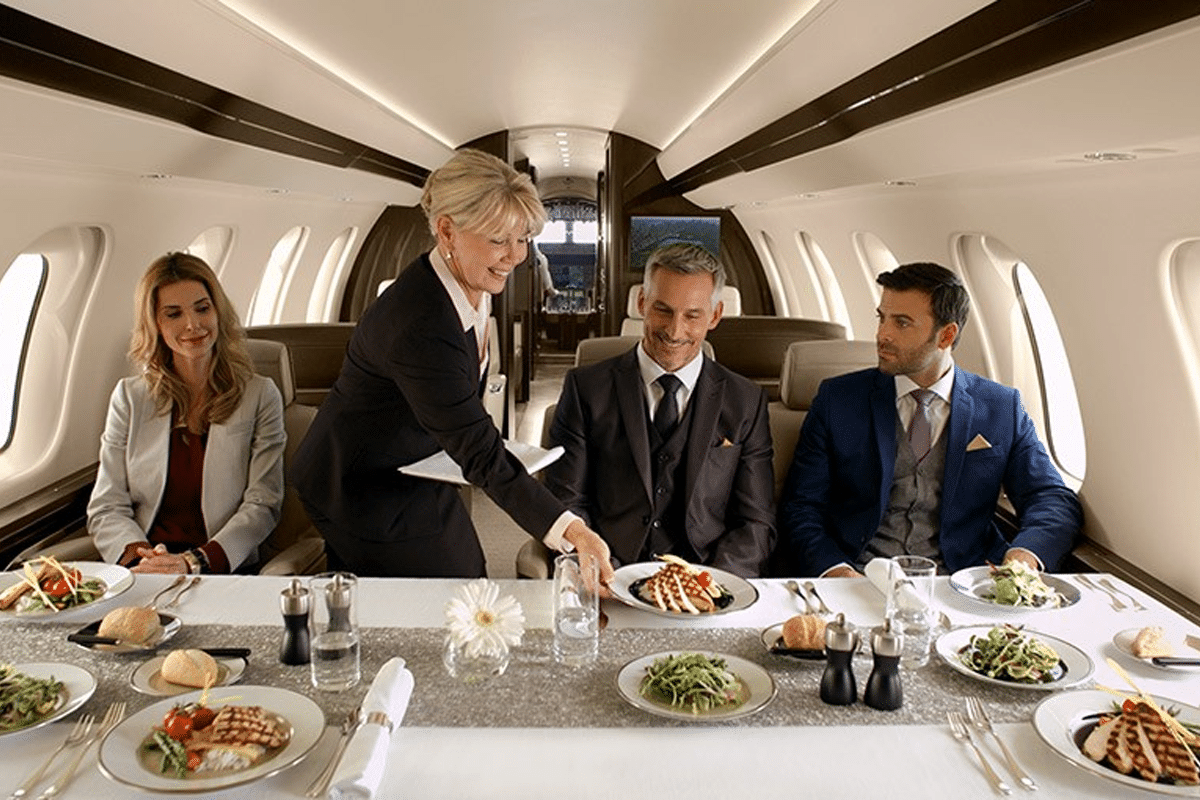 Twiggys private jet dining table