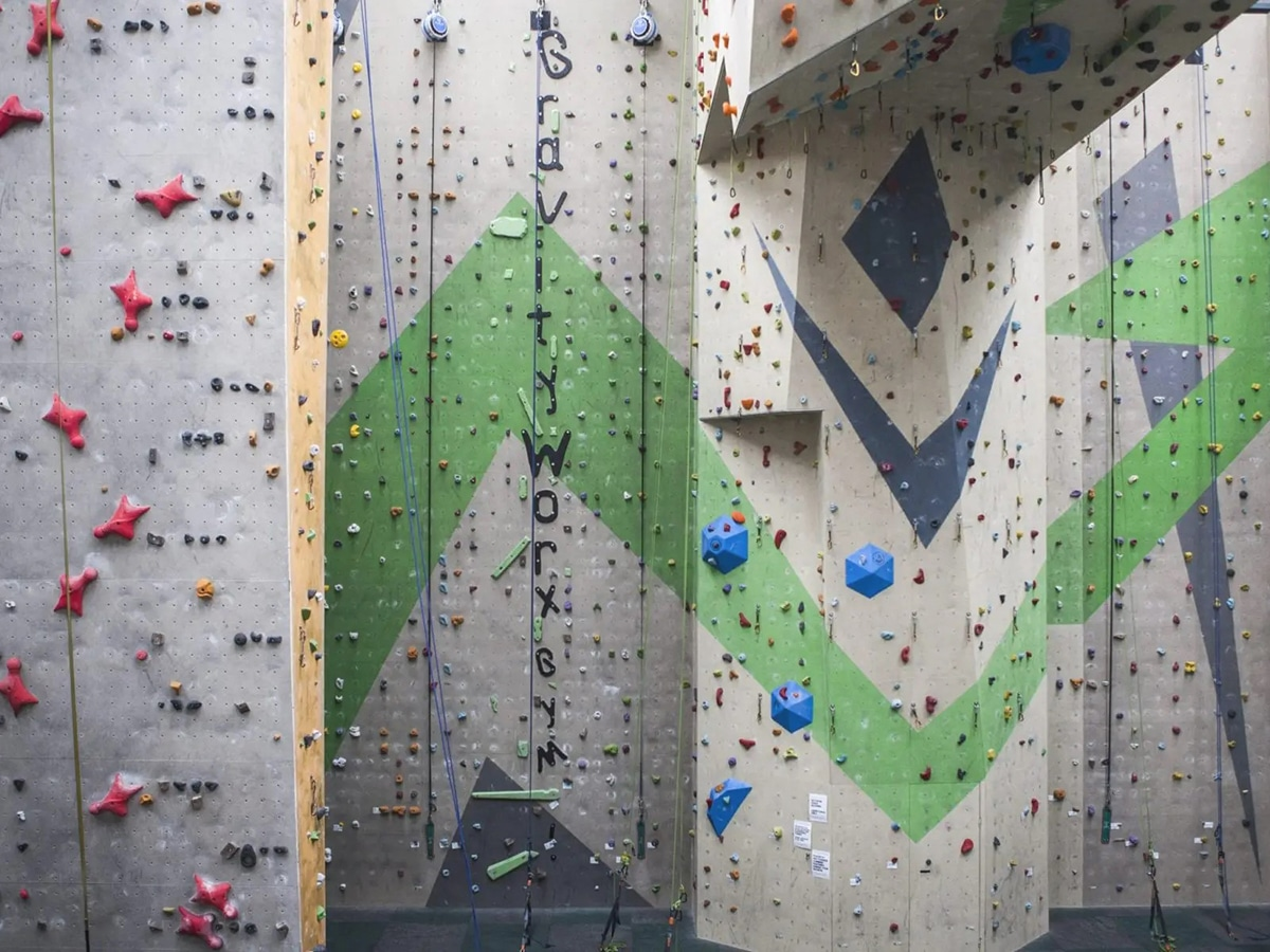 gravity worx indoor rock climbing gym interior