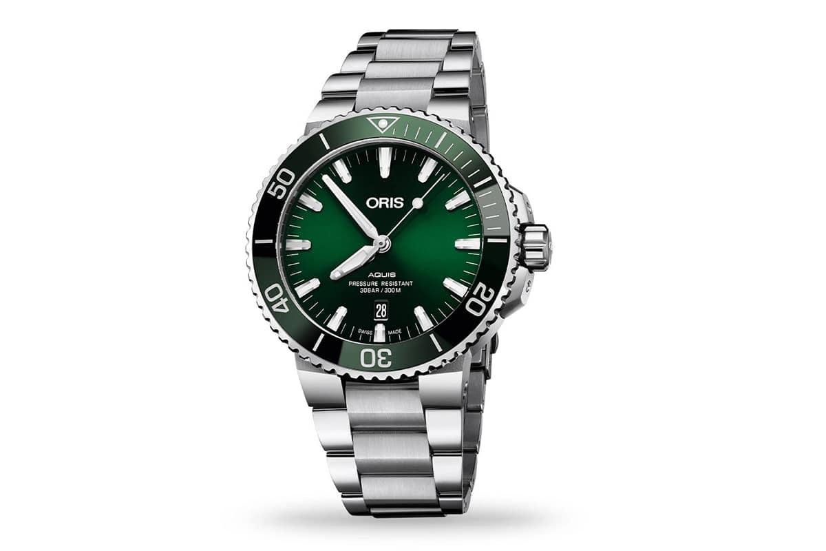 oris aquis date green dial watch