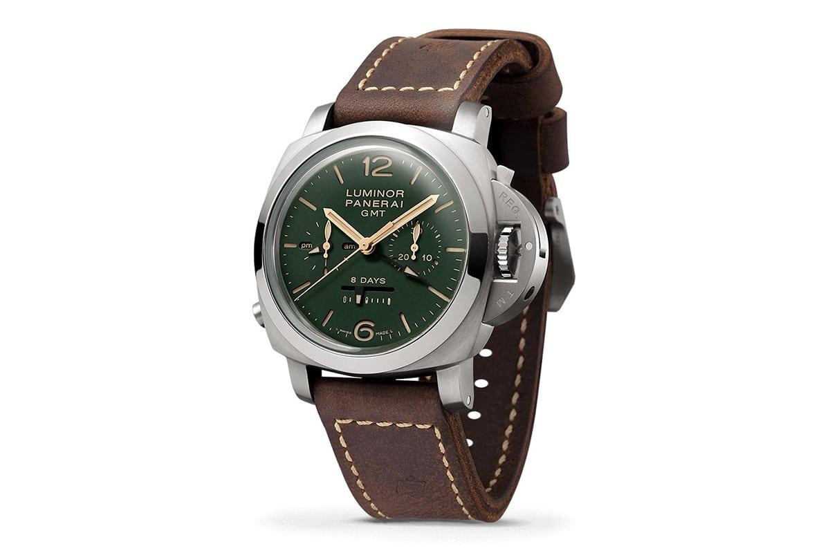 panerai luminor 1950 8 days gmt green dial watch
