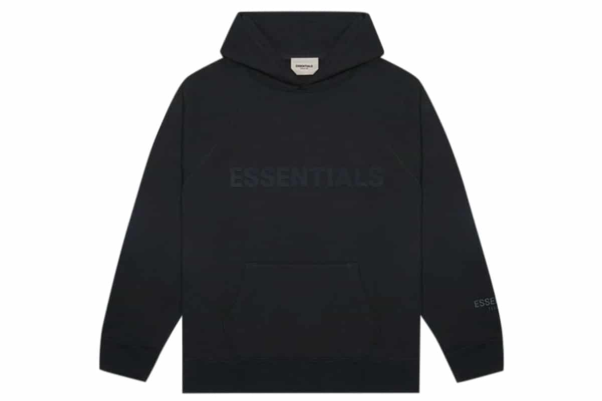 Fear of god essentials 3d silicon applique pullover hoodie