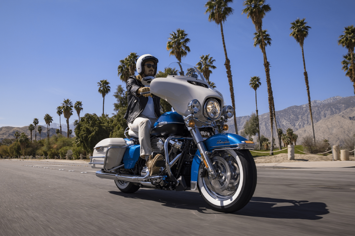 Harley davidson electra glibe icons collection riding on street