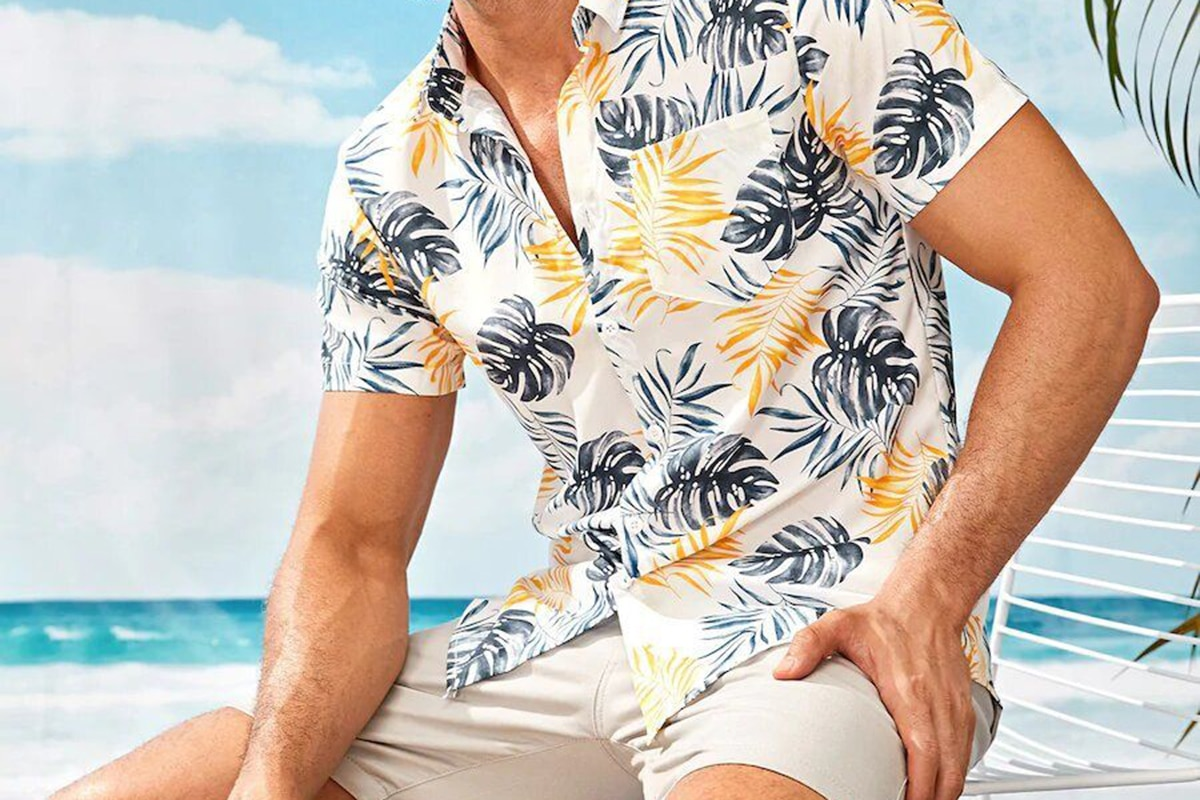 Men's tropical short sleeve shirt