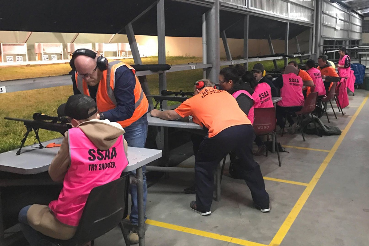 Group Of People Practice Gun Shooting at holroyd rifle range pigeon club