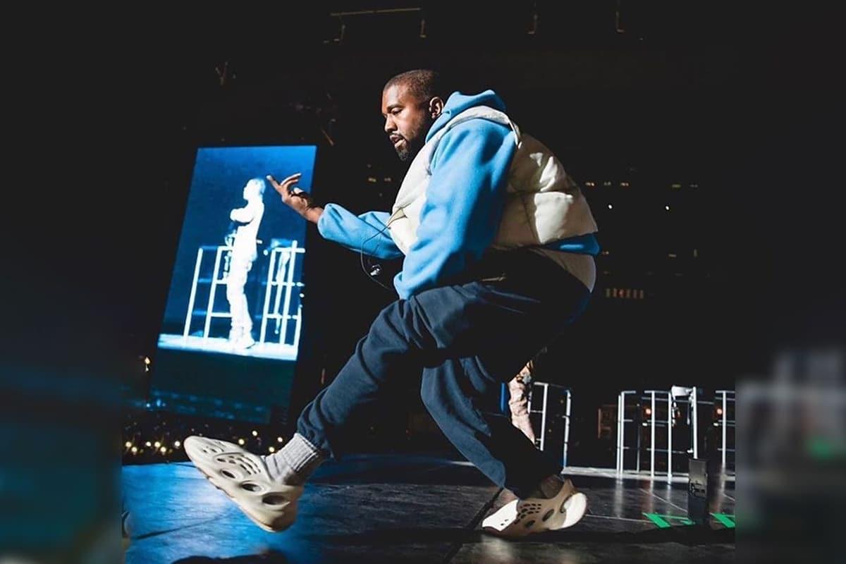 Kanye wearing foam runners