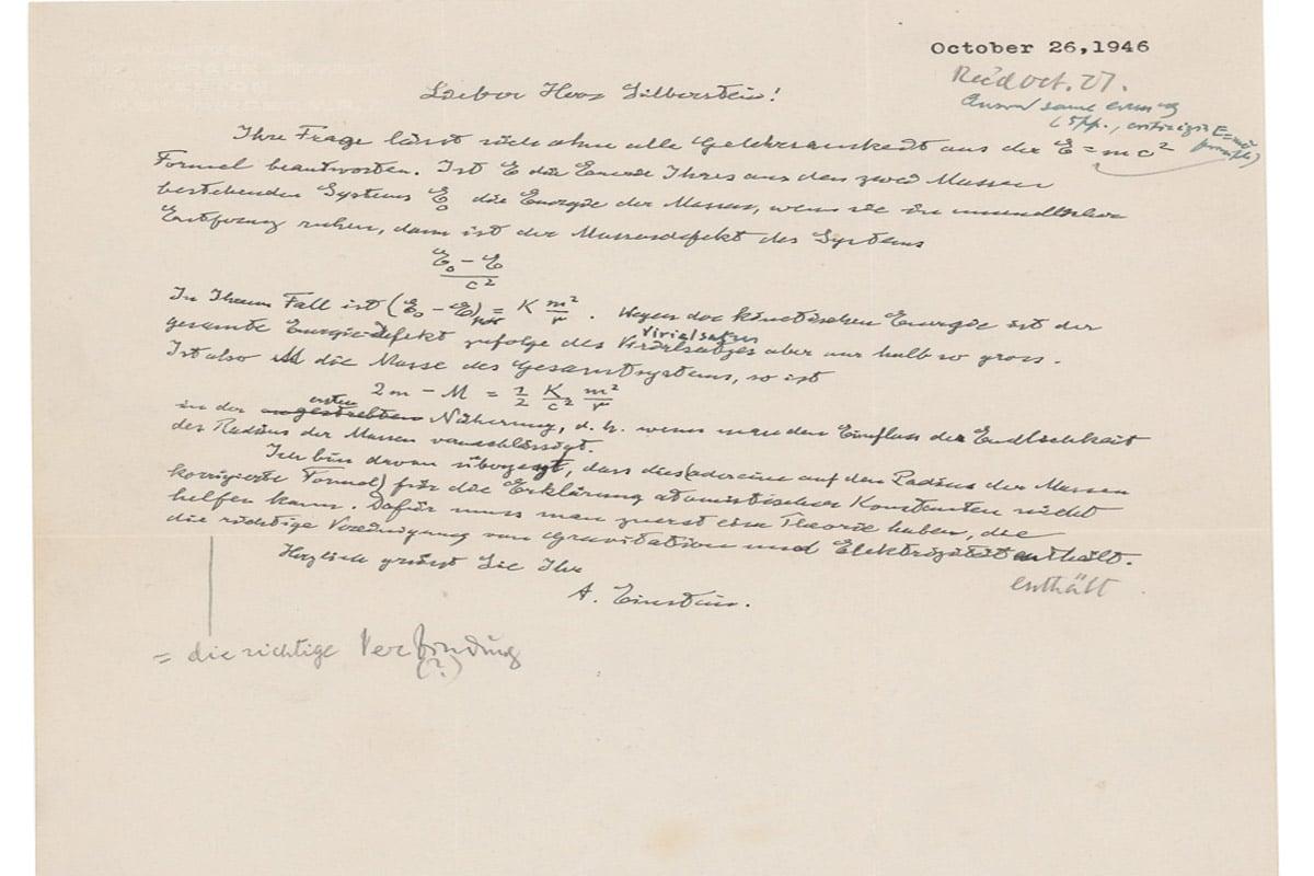 Albert einsteins actual e mc2 equation 1
