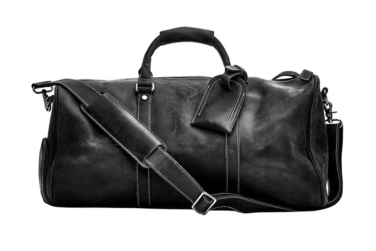 Modest Vintage Player Executive Black Leather Sports Duffel Bag