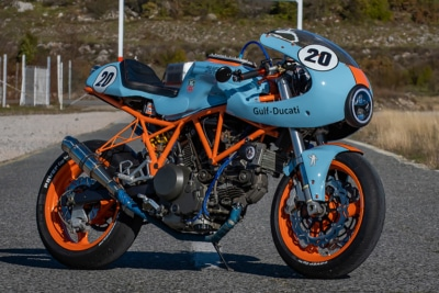 Gulf Liveried Ducati 750SS Cafe Racer Lives Up to Its Colours