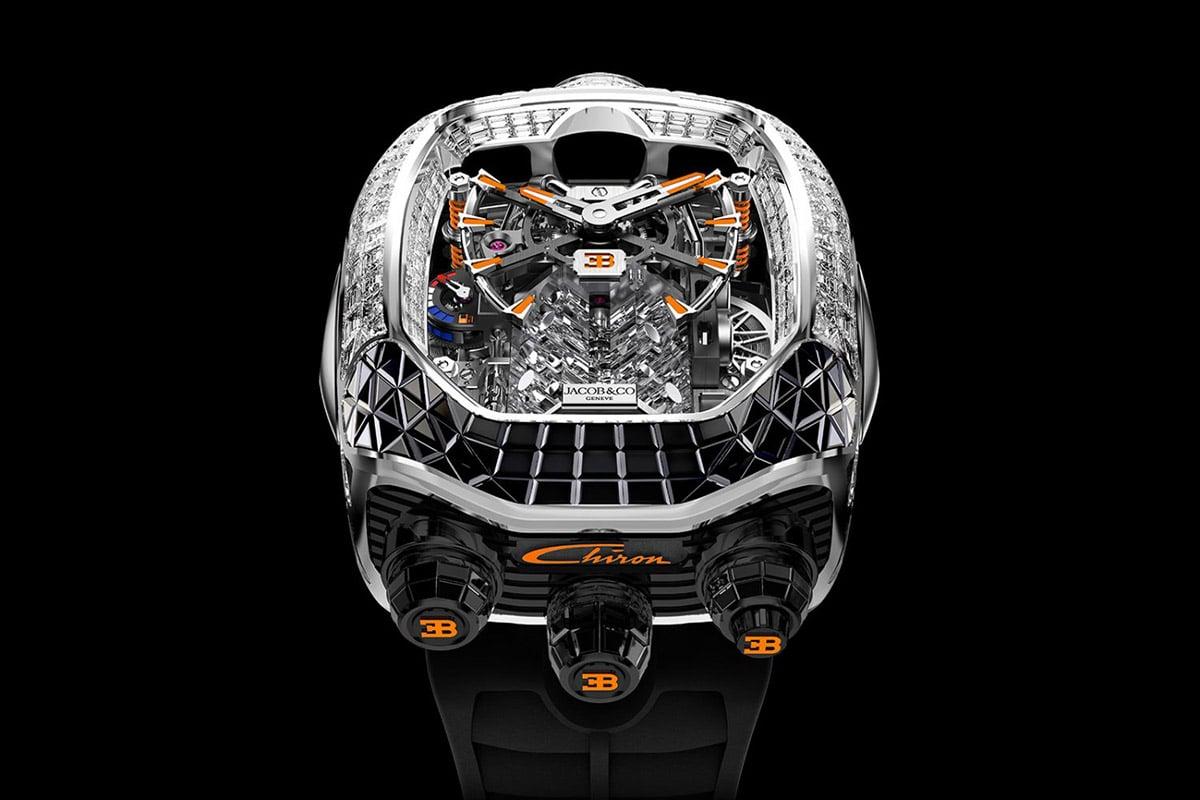 Jacob co bugatti chiron tourbillon baguette black and orange watch