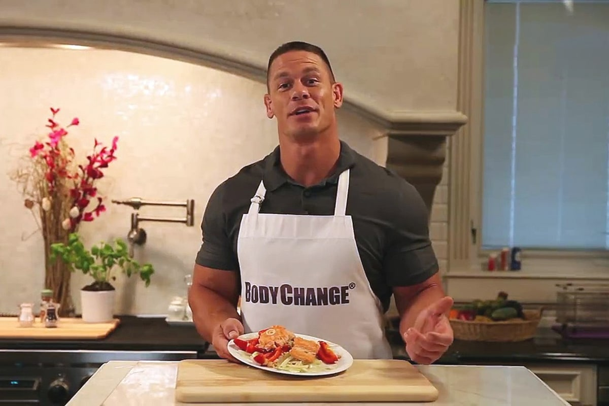 John cena holding a plate of meal