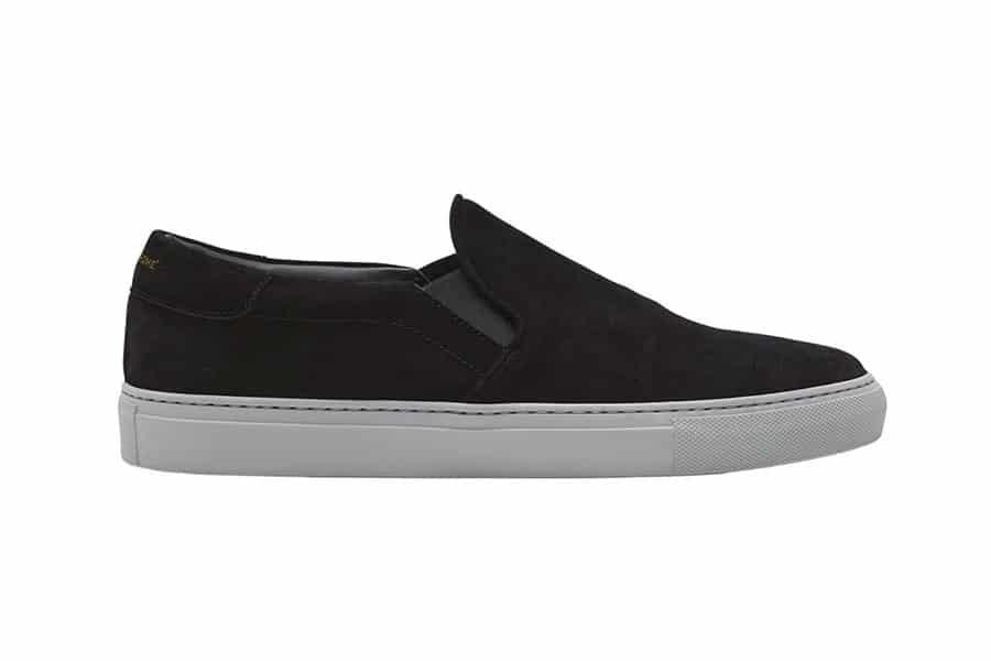 monochrome slip on black suede