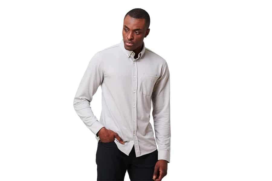 western rise limitless merino button down shirt