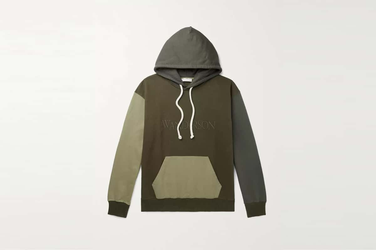 Mr porter finds jwa logo embroidered colour block cotton jersey hoodie
