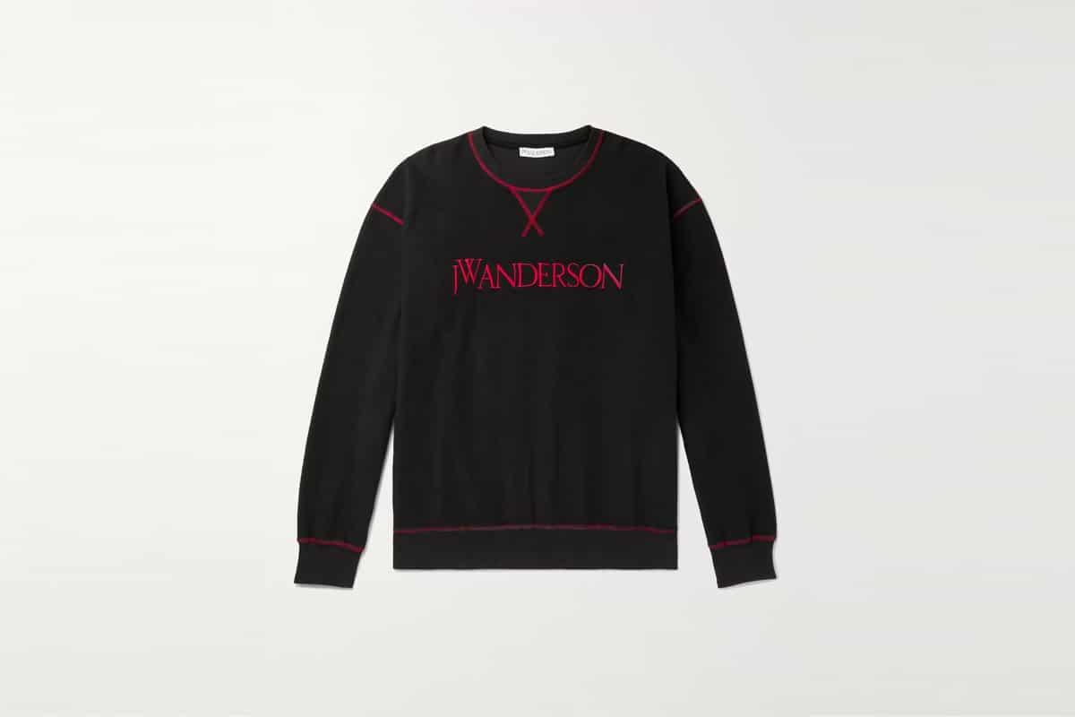 Mr porter finds jwa logo embroidered loopback cotton jersey sweatshirt