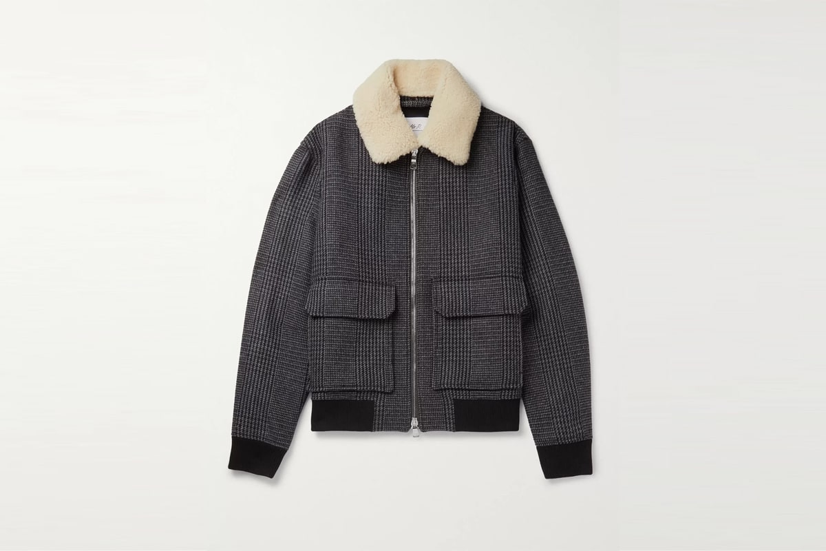 Mr porter finds mr p shearling trimmed prince of wales checked wool blend bomber jacket