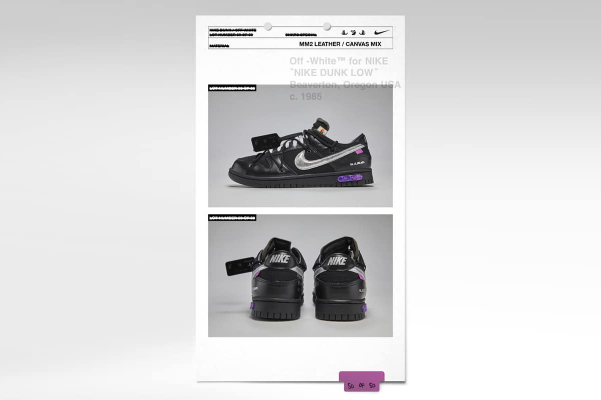 Nike x off white dunk low second feature image
