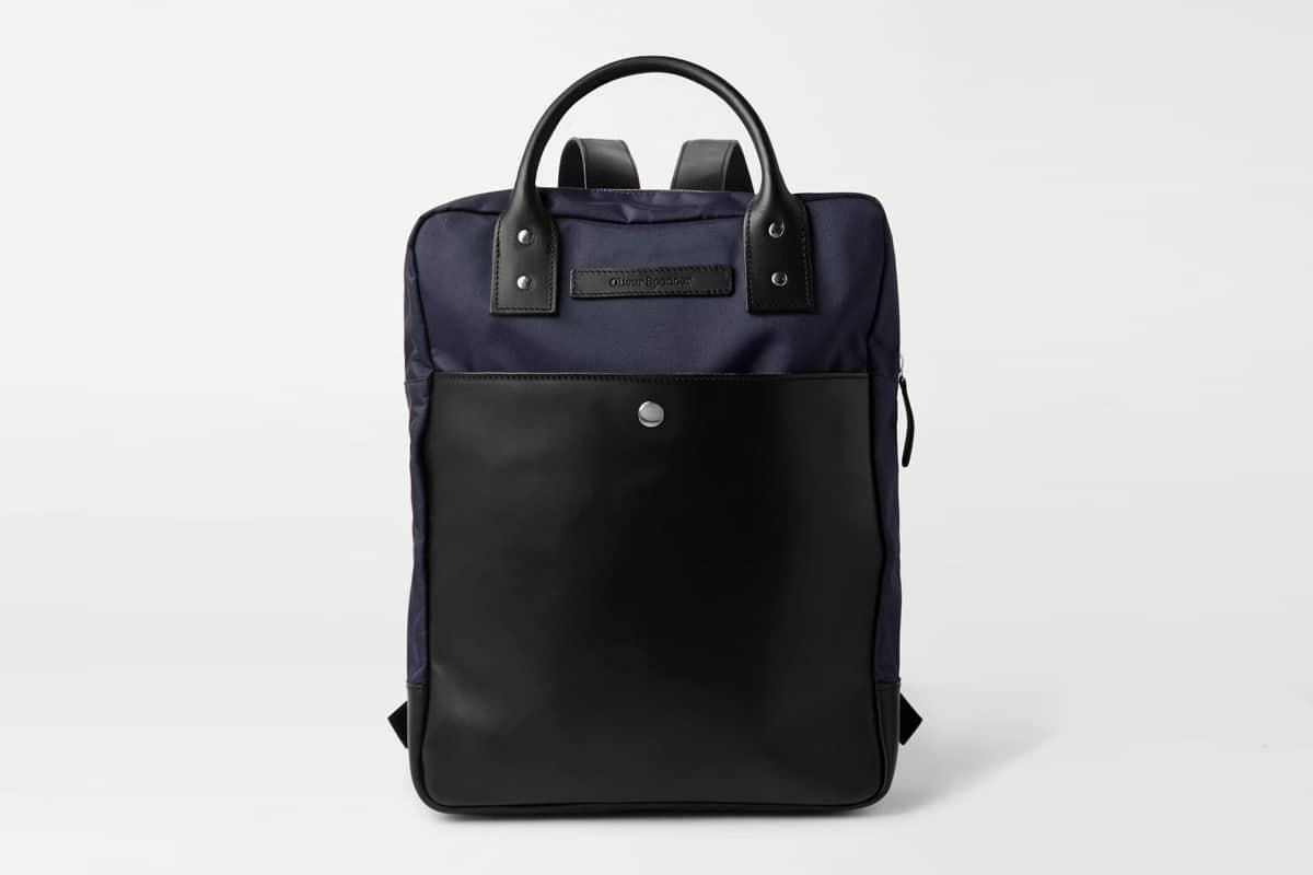 Oliver spencer leather trimmed nylon backpack