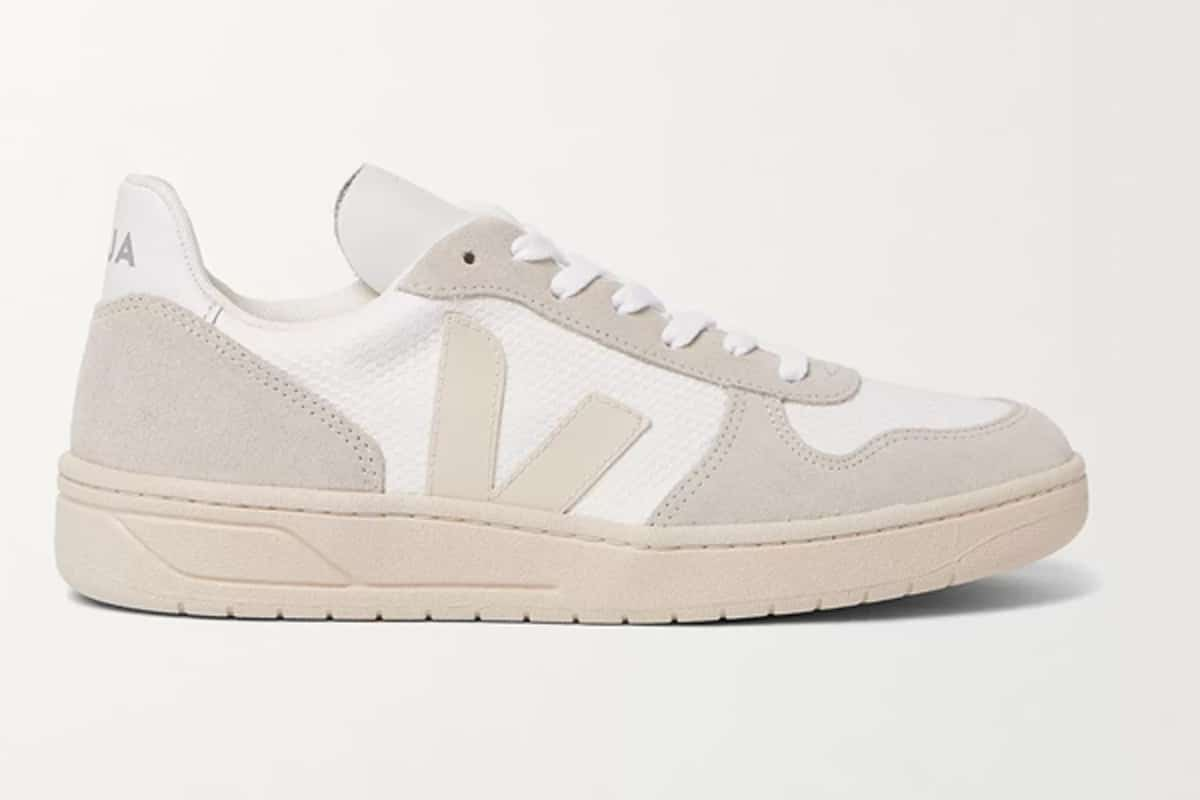 Veja v 10 leather trimmed mesh and suede sneakers