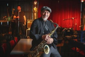 The Black Sorrows vocalist Joe Camilleri with saxophone at camelot lounge