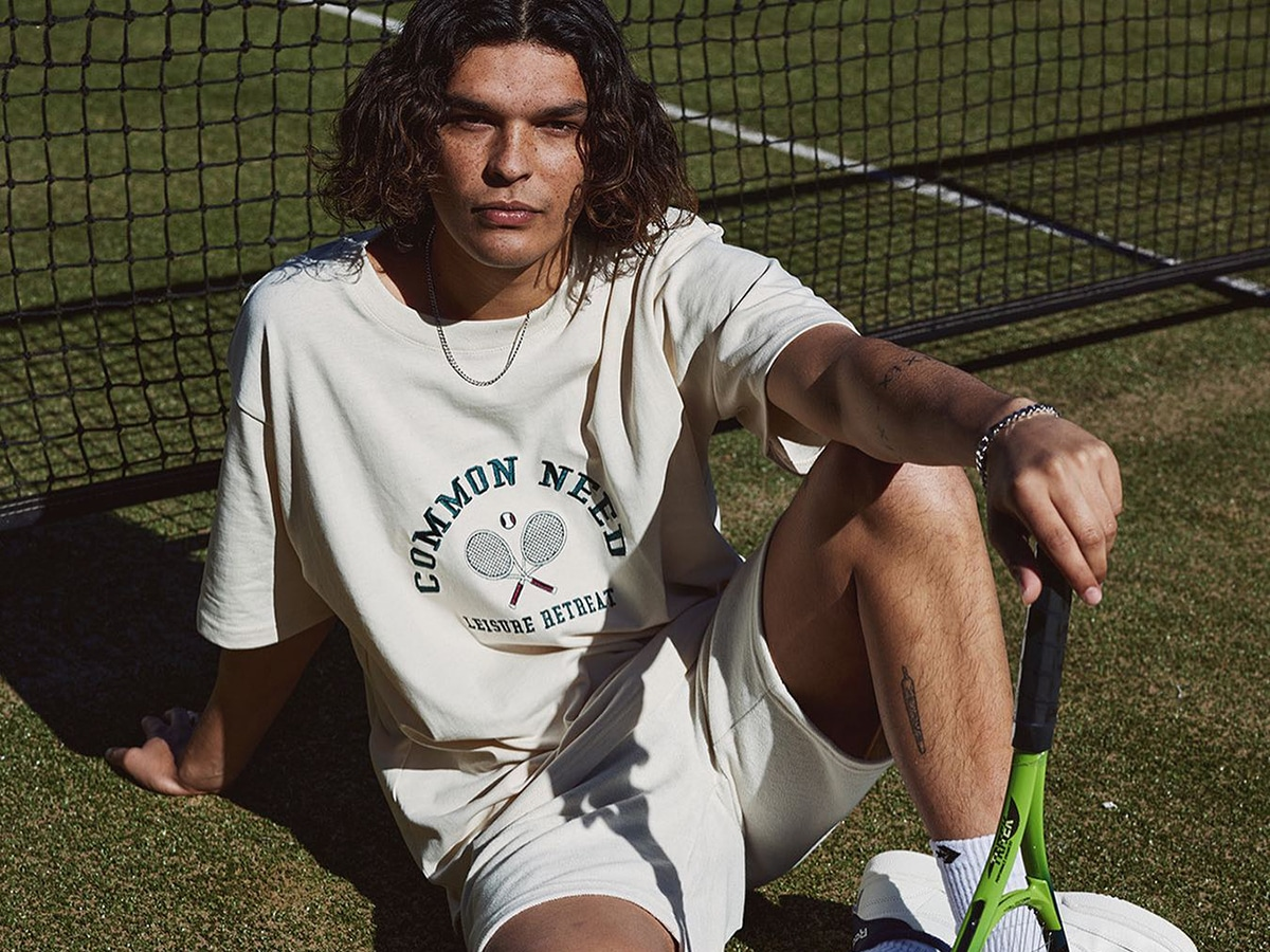 tennis player in clothes from universal store online clothing