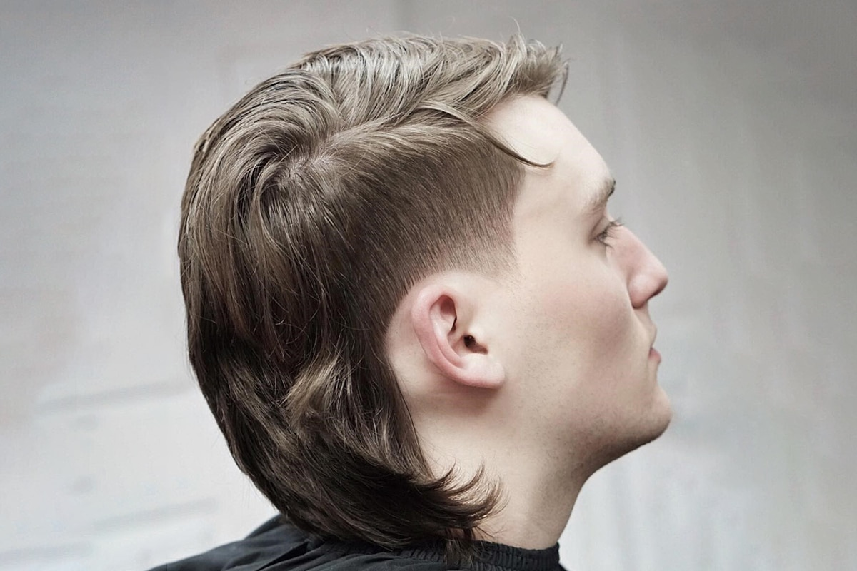 side mullet hairstyle for men