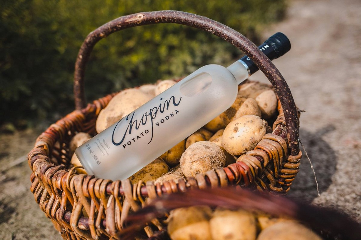chopin potato vodka and potatoes in the basket