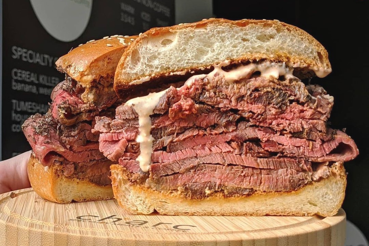 charc specialty meats coffee big sandwich with meat and cheese