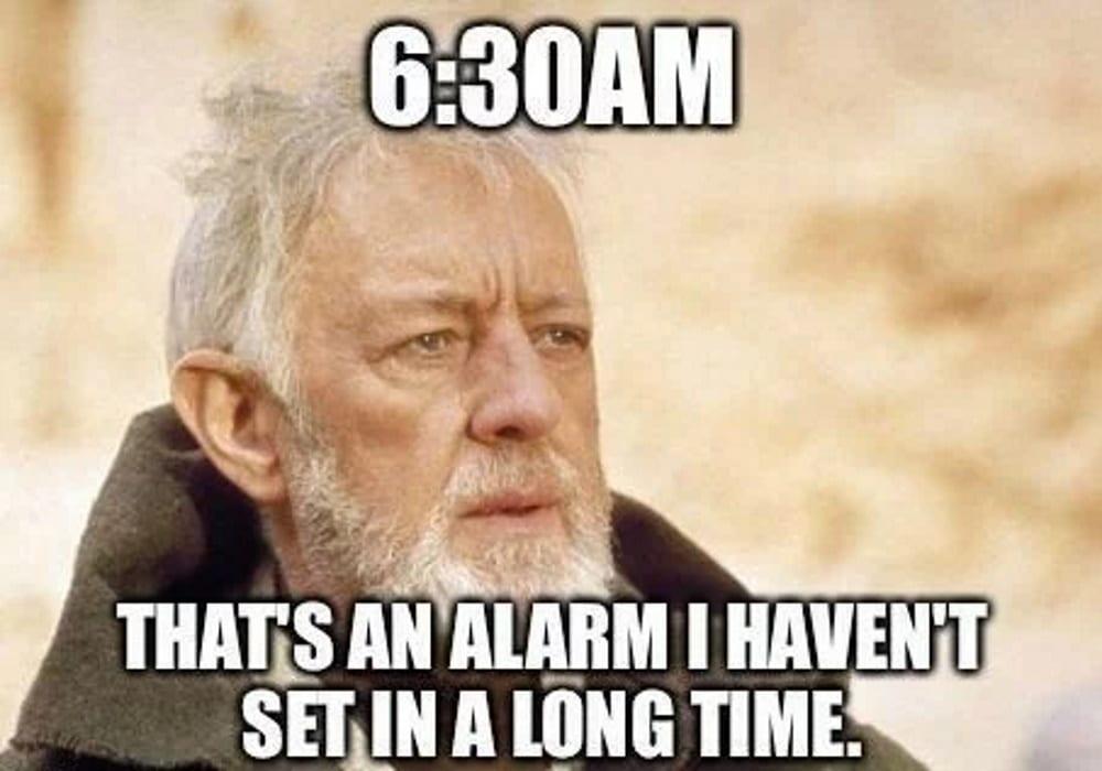 Alarm work from home meme