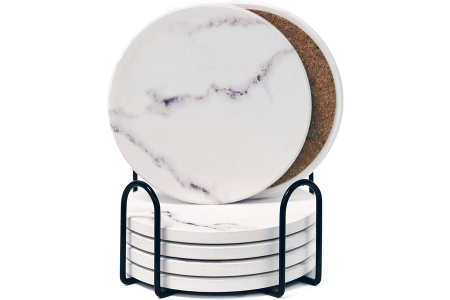 white marble pattern absorbent ceramic coasters