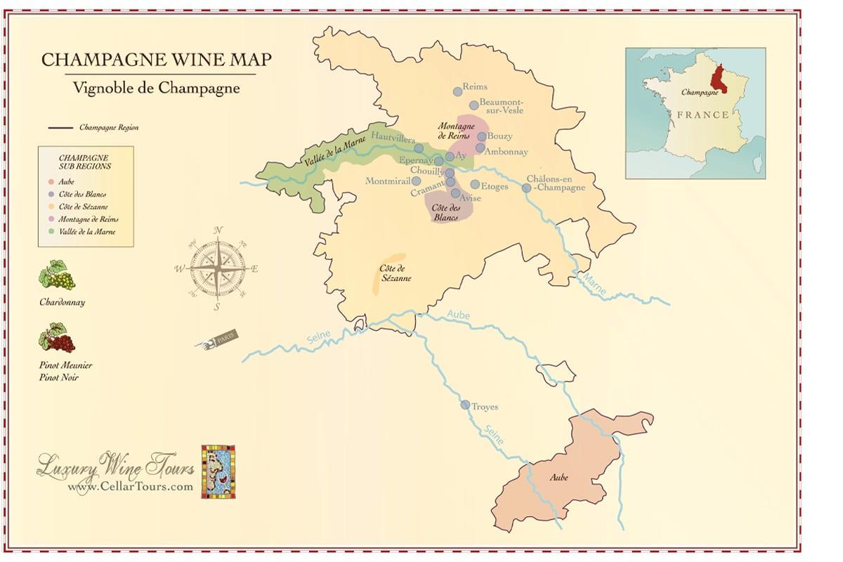 Champagne region map cellartours 1
