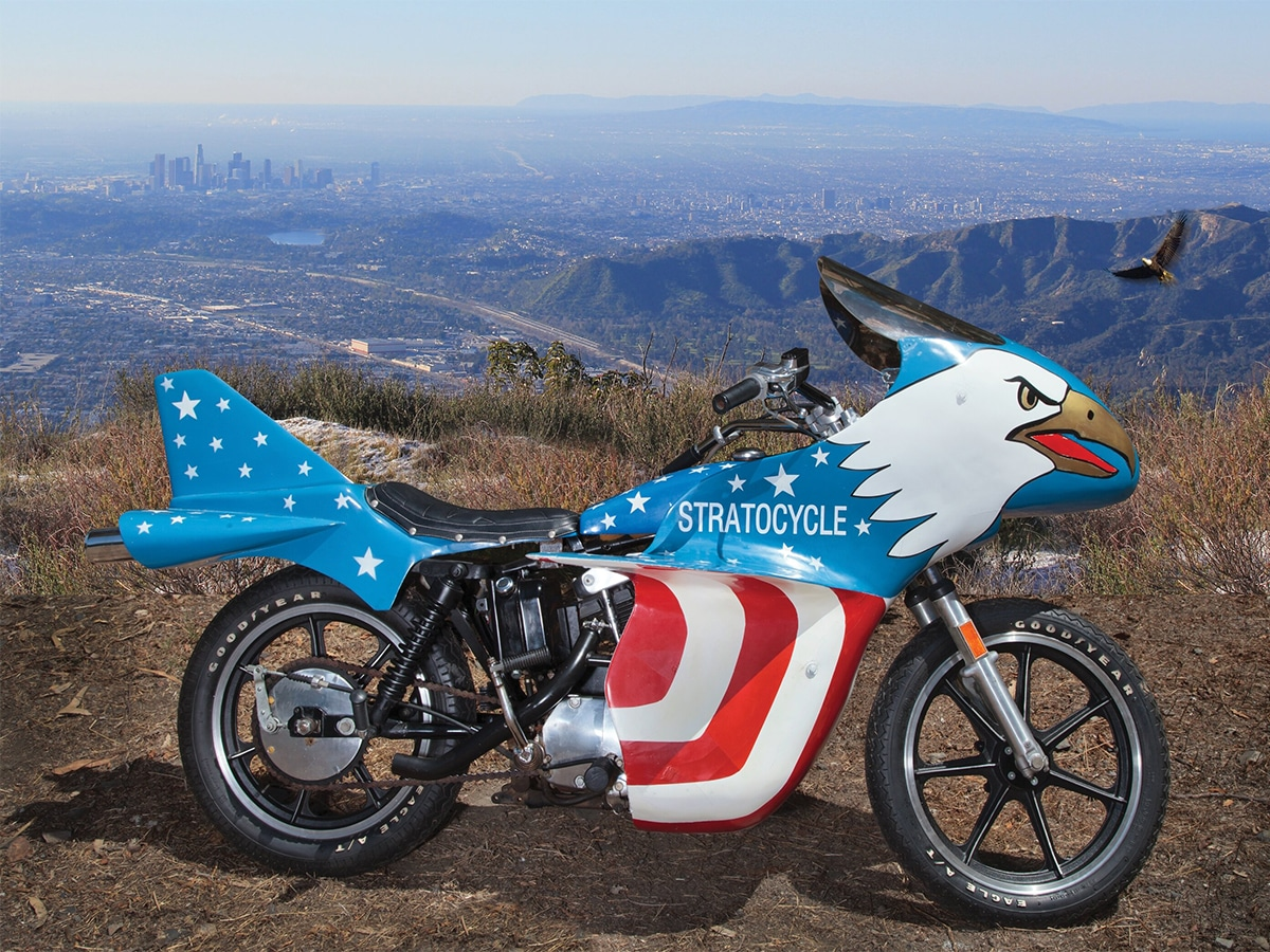 Evel knievels 1976 harley davidson sportster 'stratocycle