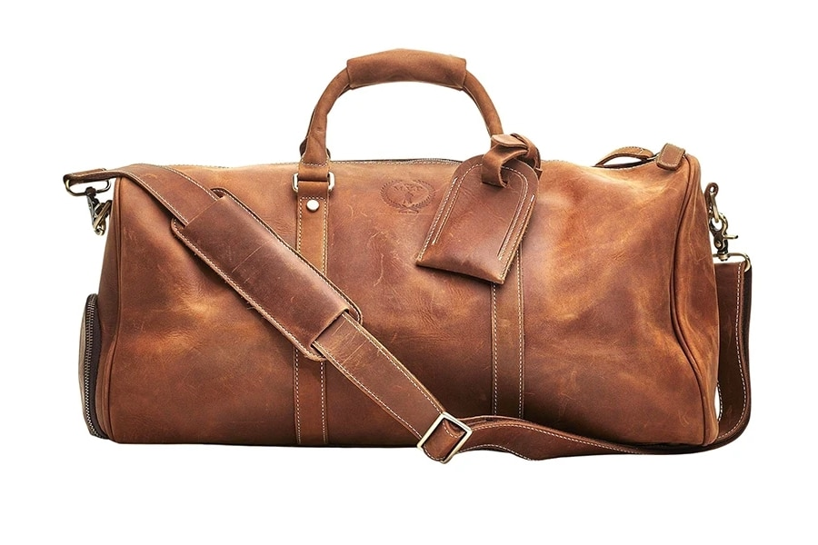 modest vintage player deluxe tan leather sports duffel bag