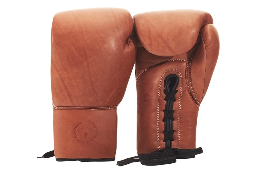 modest vintage player pro deluxe tan leather boxing gloves lace up