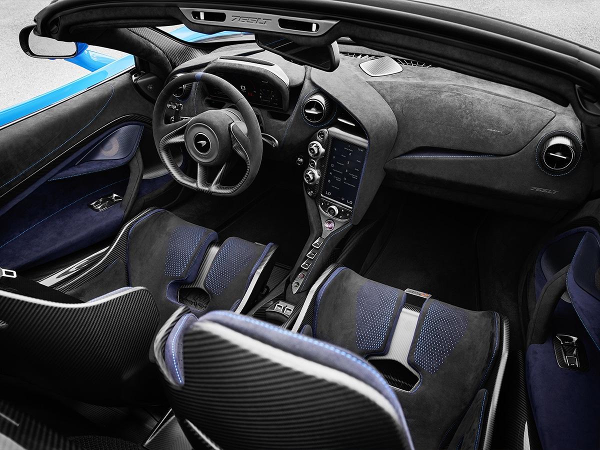 The mclaren 765lt spider blue interior