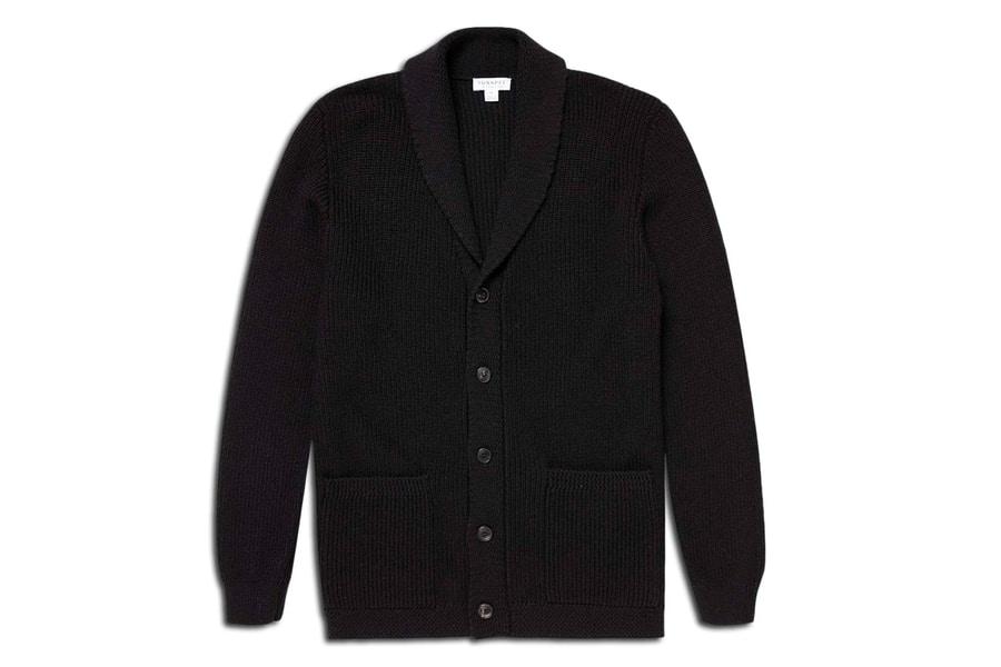 sunspel x ian fleming shawl cardigan sweater 495