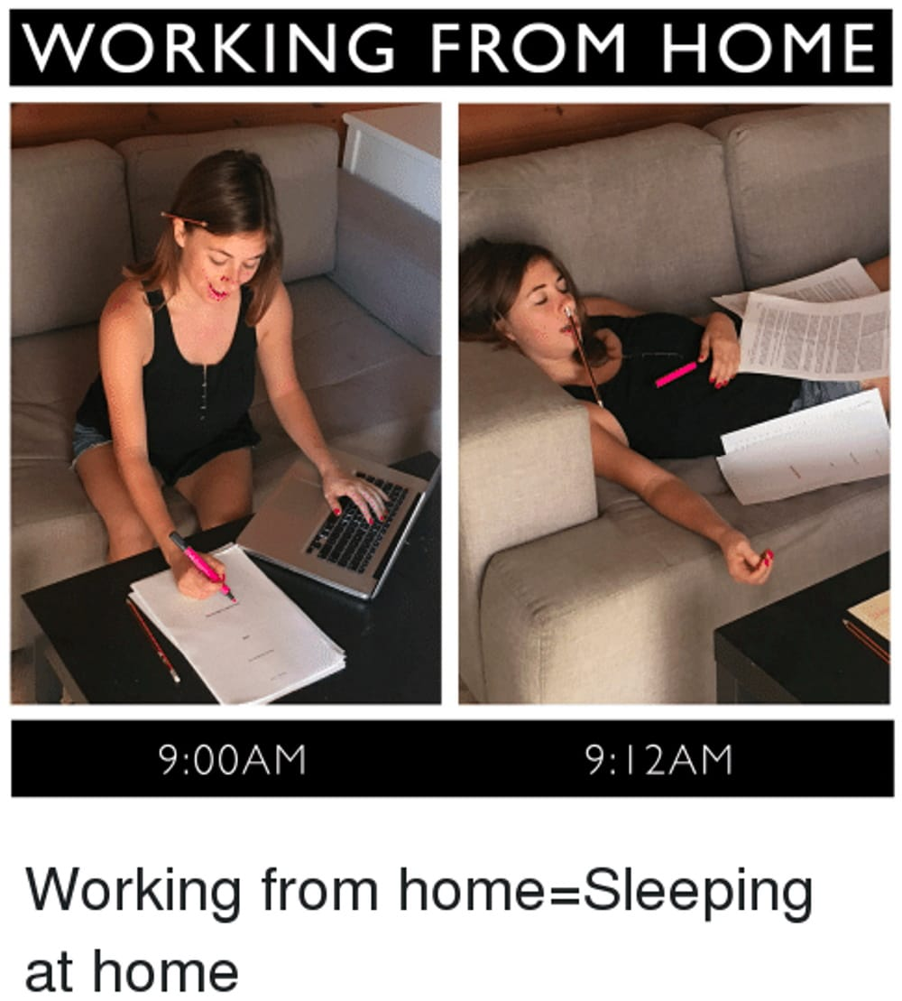 Work from home sleeping