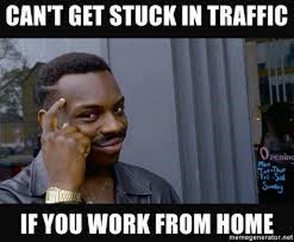 Work from home traffic meme