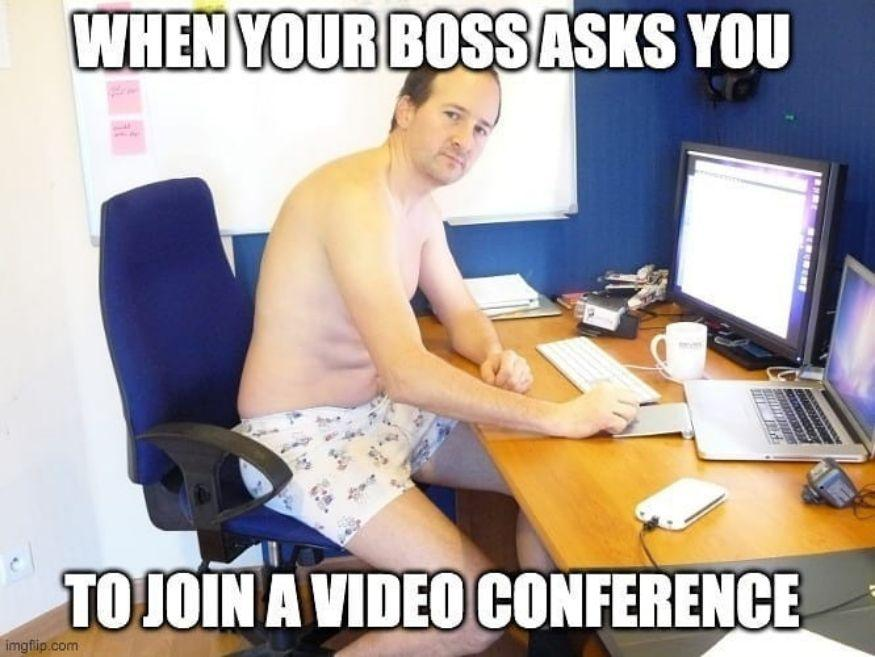 Work from home meme video conference call