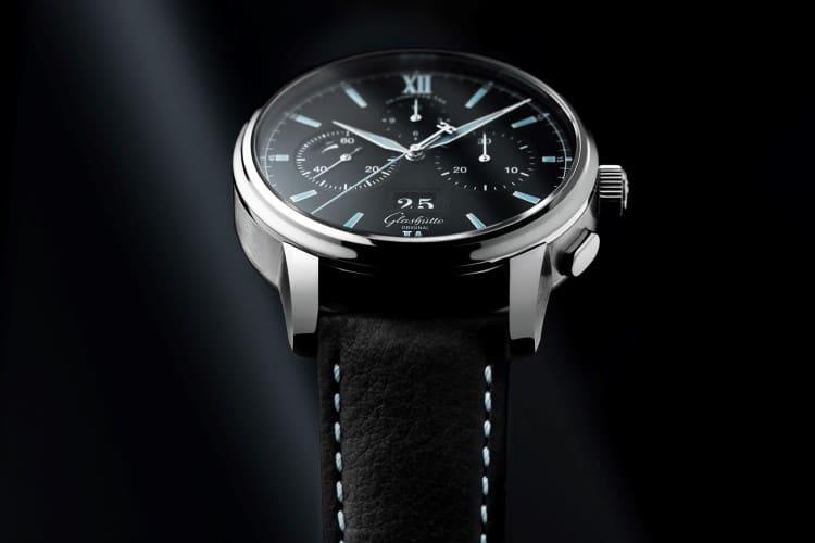 glashütte original watch leather black strap