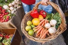 fresh vegetables in basket at jan powers farmers markets