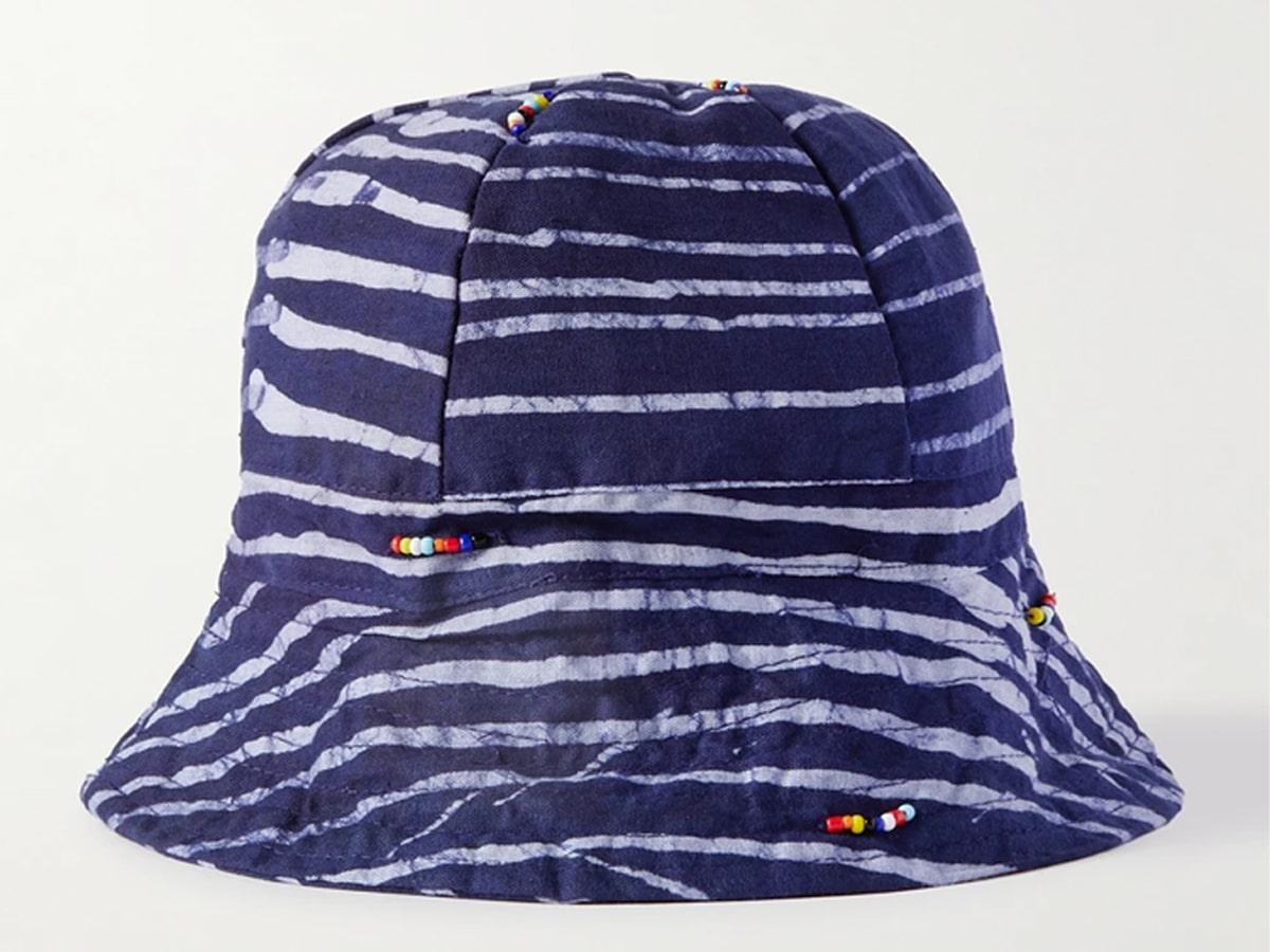 Beaded striped indigo dyed cotton bucket hat
