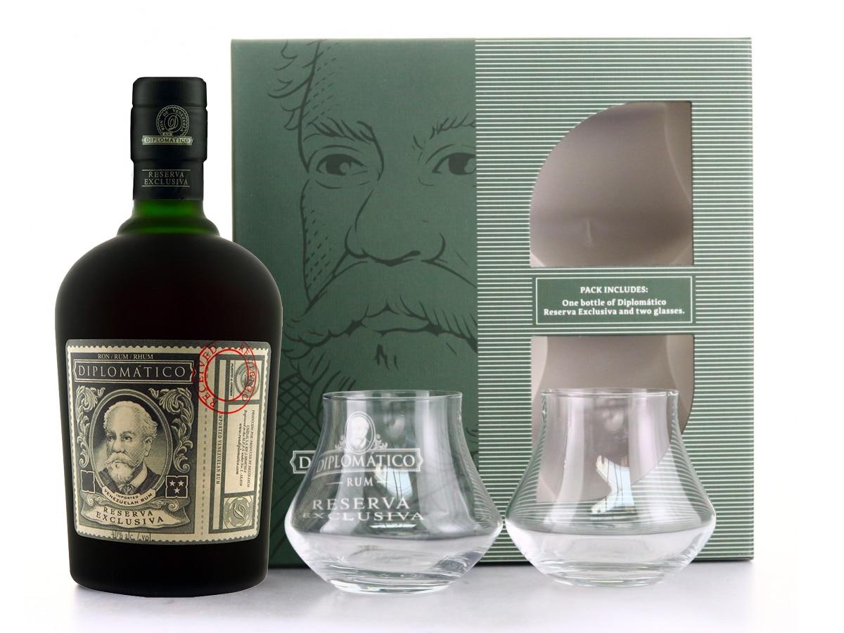 Diplomático rum reserva exclusiva rum tumbler gift pack