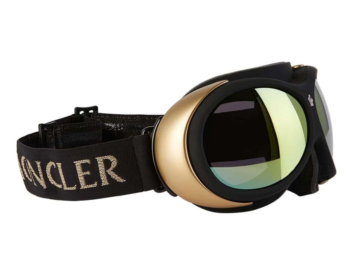 moncler grenoble black gold mirror ski goggles
