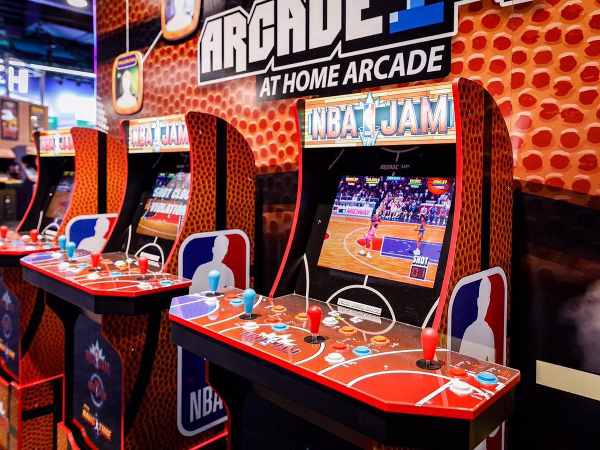 g aming machine arcade1up nba jam arcade cabinet in entertainment center