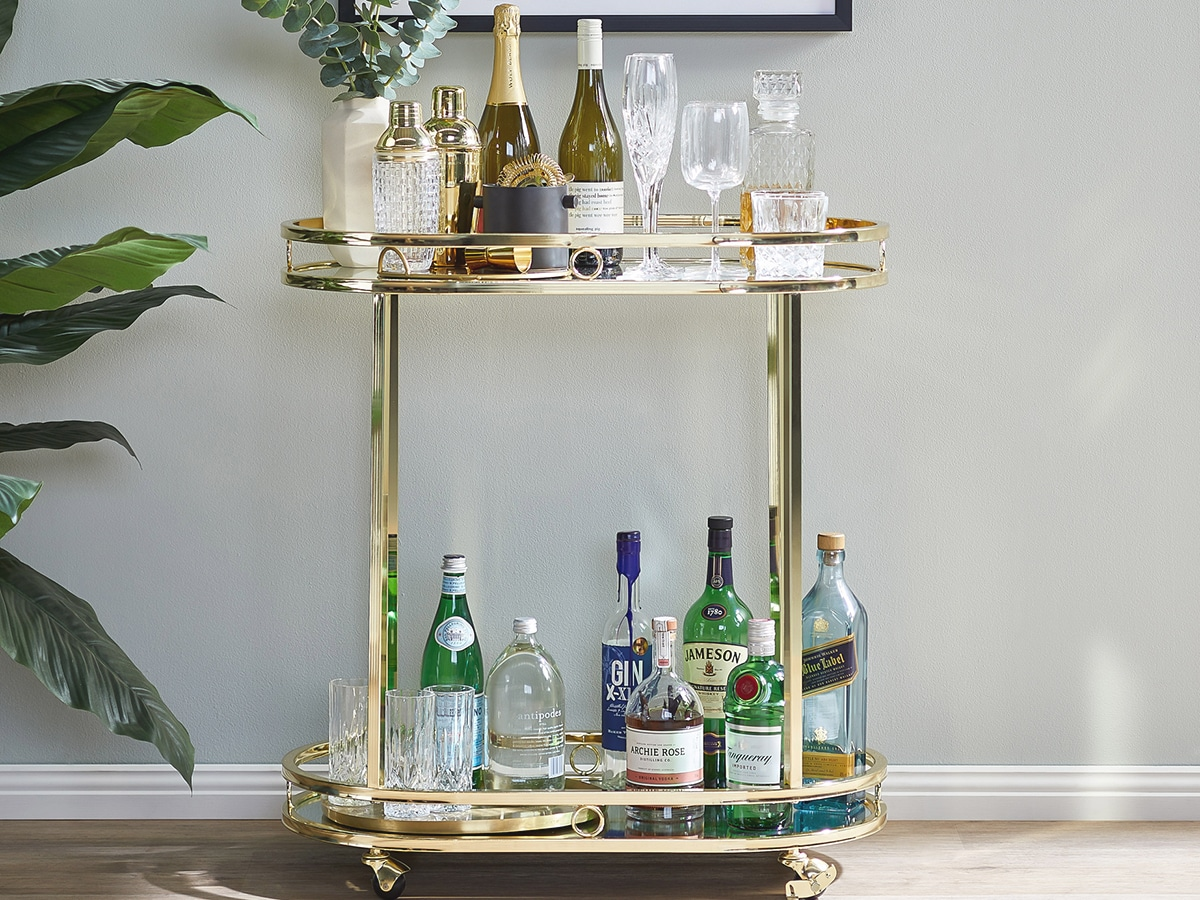 temple webster miami bar cart with bottles of alcohol