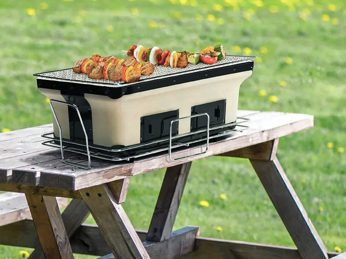 japanese style cookmaster hibachi grill with fried vegetables