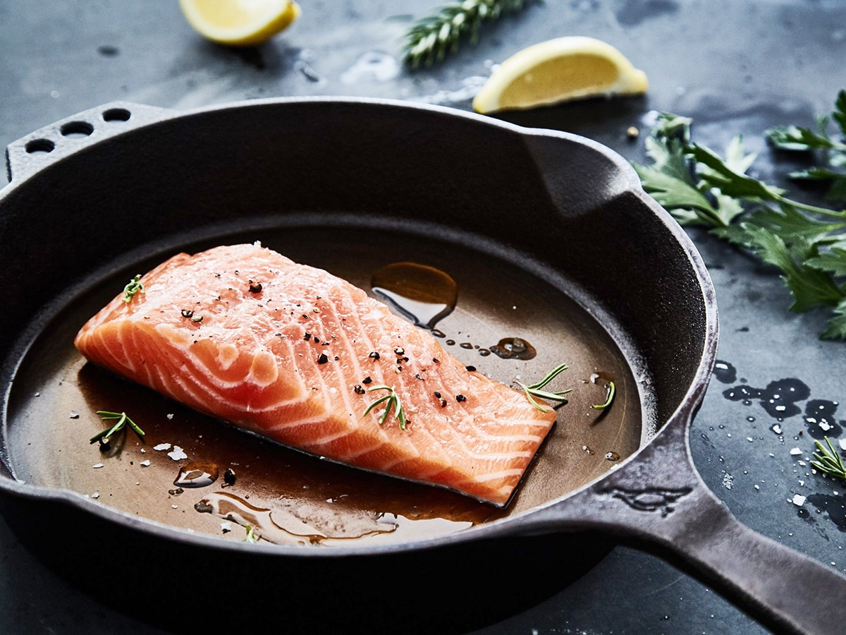 frying salmon in smithey 10 cast iron skillet