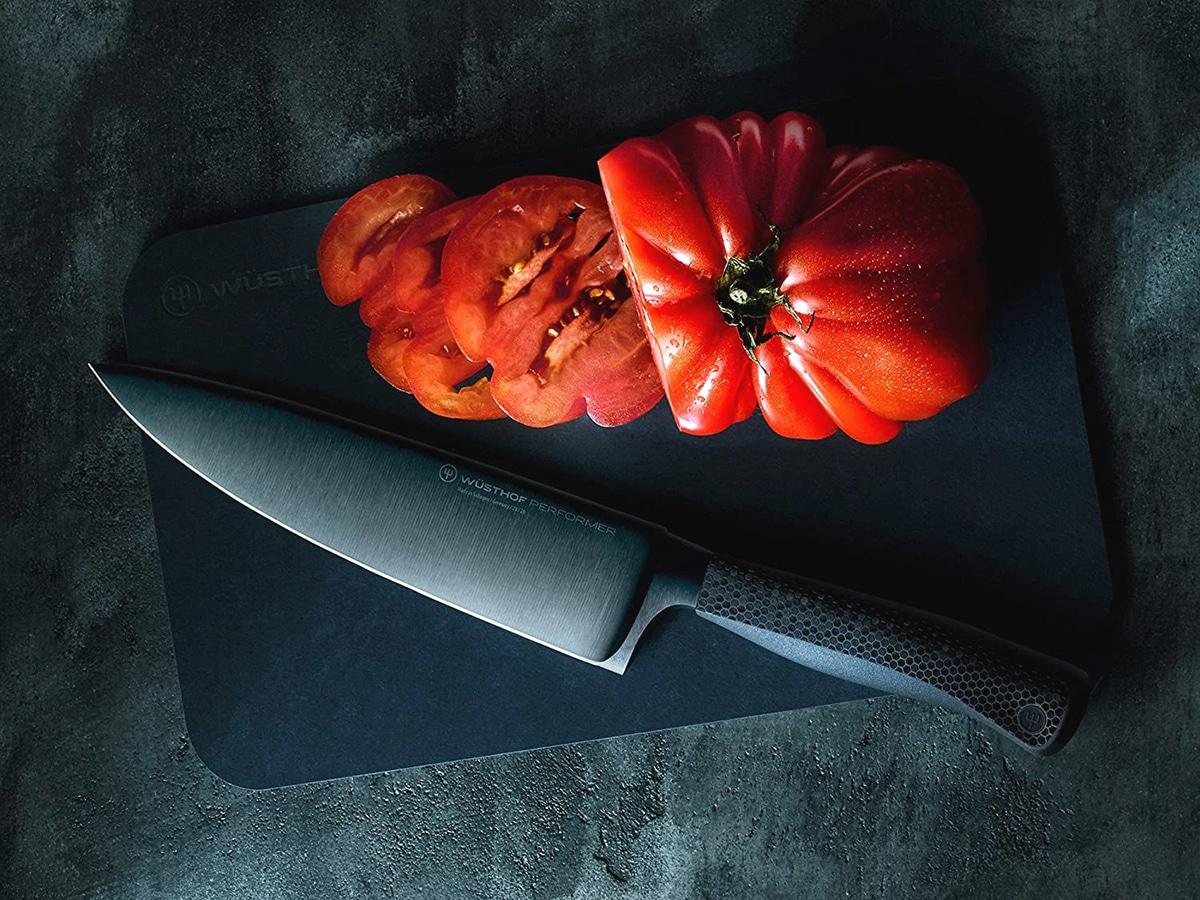 wusthof cooks knife and tomato slices