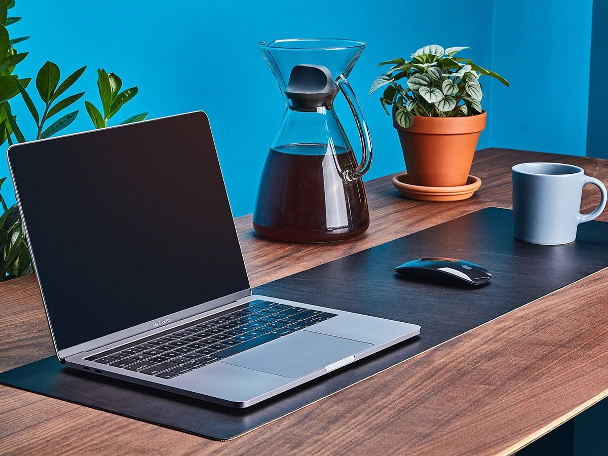 grovemade leather desk pad with computer, mouse and cup